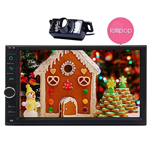 Eincar HD 7-inch Lollipop Android Car Radio Double Din Stereo in Dash Touchscreen Quad-Core GPS Sat Nav Support Wifi Bluetooth/RDS/SD/USB/Subwoofer/OBD2/3G/4G Apple Play Mirrorlink (IR Camera Included) No-DVD Player