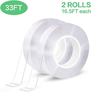 EZlifego Double Sided Tape Heavy Duty (2Pack 10M/33FT) Multipurpose Mounting Tape Removable Adhesive Strips Transparent Wall Tape,Washable Strong Sticky Tape Gel Poster Carpet Tape for Home,Office