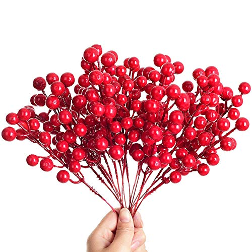 JPYH 20 Pezzi Rami Bacche Rosse Natale Decorazioni, Bacche di Agrifoglio di Natale per Decorazioni Natalizie Decorazioni per ghirlande Natalizie Forniture per ghirlande