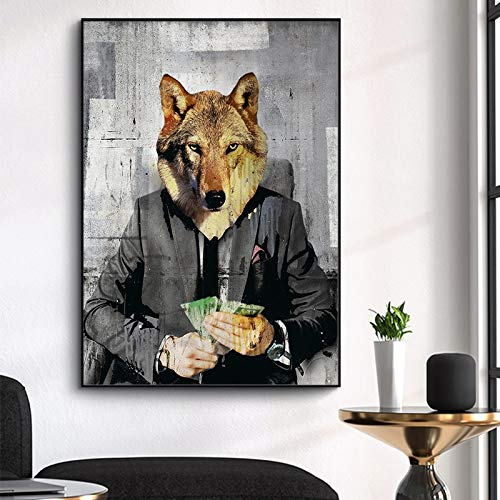 Lobo Moderno Pintura en Lienzo de Cultura Pop El Lobo de Wall Street Carteles e Impresiones Sala de Estar Pintura Decorativa Pared artística-Sin marco40X60cm