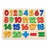 Ysy Jouets pour Enfants Lettres Numériques Puzzle Tableau Maternelle en Bois Approprié pour 3-6 Ans éducation Précoce Puzzle Illumination,B