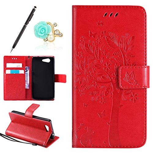 Uposao Kompatibel mit Sony Xperia Z3 Mini Handyhülle Tasche Leder Flip Case Wallet Schutzhülle Katze Ledertasche Bookstyle Cover Leder Klapphülle Lederhülle Handytasche Kartenfach,Rot