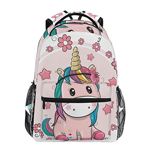 Unicornio con Flores Mochila Escolar para niños niñas niños Bolsa de Viaje Bookbag