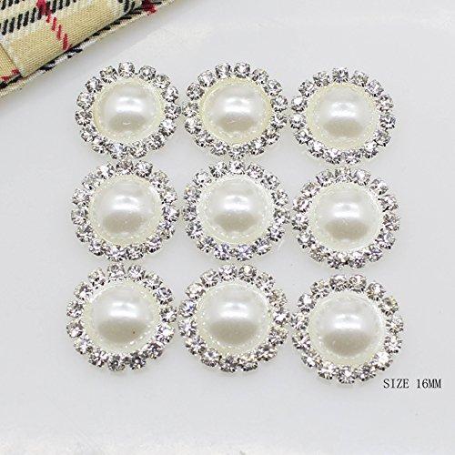 50 stks 16 mm Rondvormig Kristal Parel Knopen Diy Naaien Bevestigingen Accessoires Metalen Strass Knopen Vlakke Terug voor Sieraden Maken Naaien Ambacht Bruidsjurk
