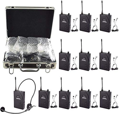 EXMAX EX-938 Wireless Headset Microphone Tour Guide System Interpreter Transmitter Translator in Your Ear for Church Translation Simultaneous Interpretation (1 Transmitter 10 Receivers & Storage Case)