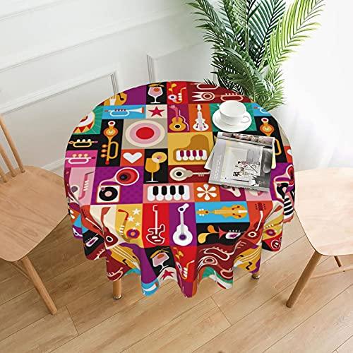 Colorido instrumento musical cóctel fiesta redondo mantel derrame agua para cubierta de mesa interior al aire libre 60 pulgadas