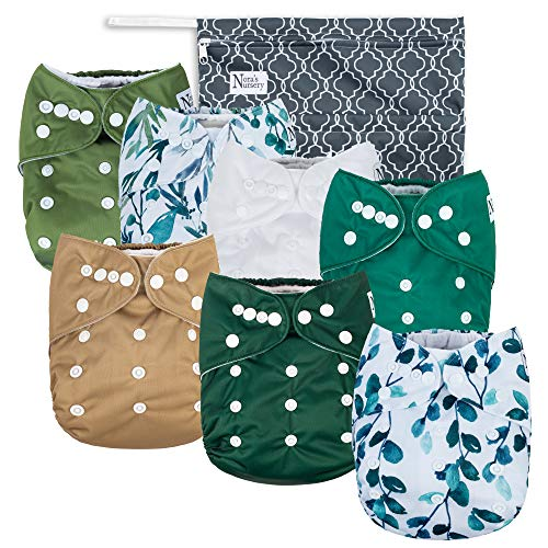 Unisex Baby Cloth Pocket Diapers - Sage and Sea - 7 Pack, 7 Bamboo Inserts, 1 Wet Bag by Nora's Nursery
