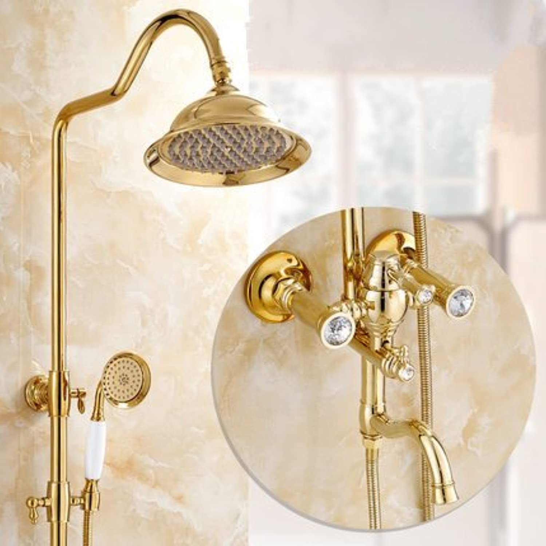 ZXY-European golden shower sprinkler suit all copper constant temperature cold heat shower shower shower