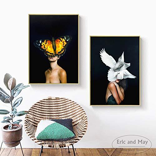 ganlanshu Moderne weibliche Art-Deco-Plakate und Wandgemälde auf der Leinwand des Wohnzimmers,Rahmenlose Malerei-80x105cmx2