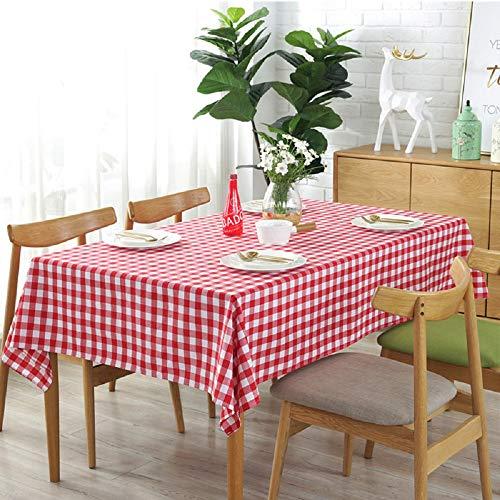 Vlunt Nappes à Carreaux Rectangulaires Carrees Anti Taches, Fete Festives Nappes de Table en Lin Tissu - Rouge, I:130 * 180CM