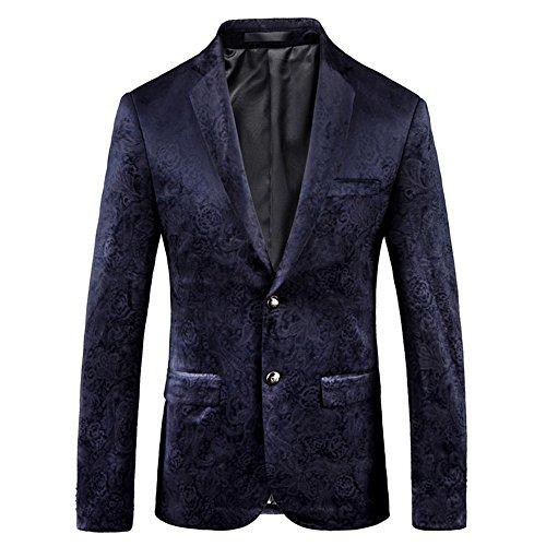 SZRXKJ Männer 3D-Druck Business-Kleid Anzug Jacken Zurück Schnitt versteckte Blätter Slim Fit Anzüge Jacken