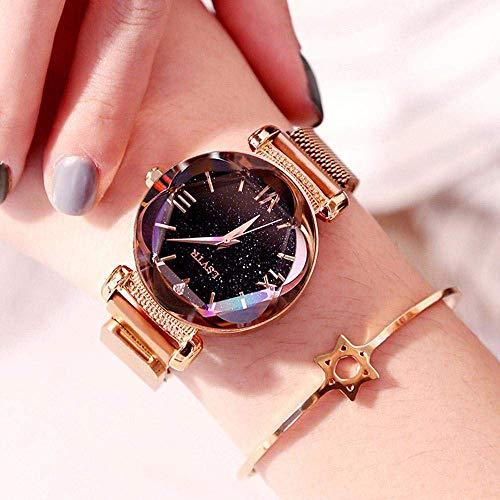 Damen Armbanduhr mit Magnetband Analog Quarz Damen Armbanduhr mit Magnetband Mesh Glänzend Leicht...