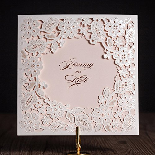 Wishmade 50x White Tri-fold Laser Cut Square Wedding Invitations Cards Kits with Hollow Floral Favors Bridal Shower Engagement Birthday Baby Shower Quinceanera(set of 50pcs)