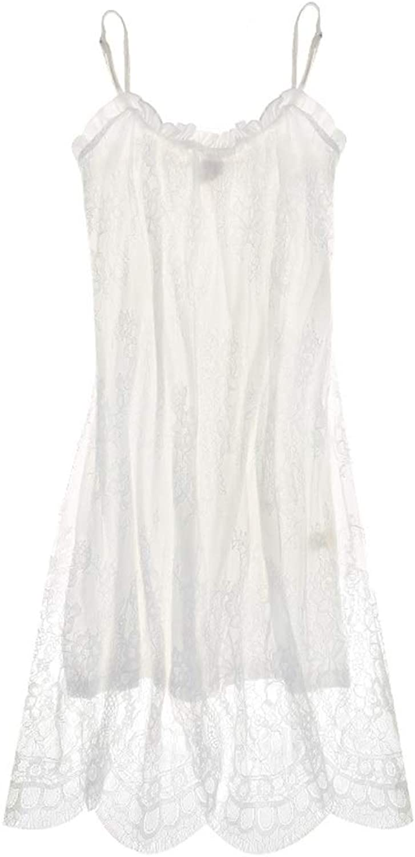 Pajamas Women Sweet Style Sexy Sling Nightdress Cotton Lace Home Nightdress (color   White, Size   L)