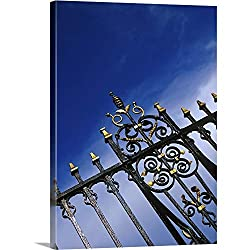 GREATBIGCANVAS Clock Bridge Wrought Iron Fence, Chester, Cheshire, England Canvas Wall Art Print, 35x48x1.5