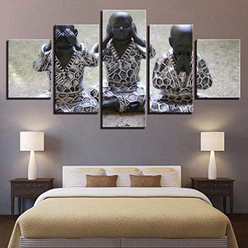 Cuadro sobre Lienzo - 5 Piezas - Impresión En Lien Figura Religiosa De Buda 5 Piezas Imágenes Pared Decoración De Dormitorio Modular Regalos De Cumpleaños De Navidad