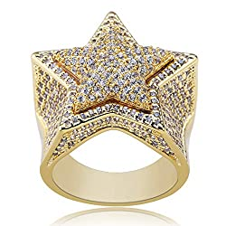 14K Gold Plated Iced Out Diamond 3D Star Rappers Gold Ring