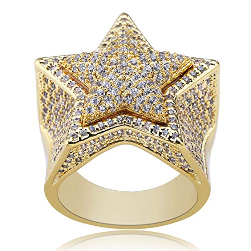 TOPGRILLZ 14K Gold Plated Iced Out CZ Simulated Diamond Flooded 3D Star Punky Ring for Men Engagement Hip Hop Jewelry (Gold, 7)