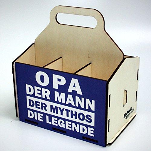 Bierträger aus Holz - Sixpack Männer - Grillen (Opa, der Mann, der Mythos, die Legende)