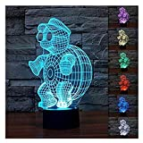 3D Illusion Tortoise with Glasses Night Light Lamps,7 Colors Gradual Changing Touch Switch USB Table Lamp,Holiday Gifts for Kids or Home Decorations.