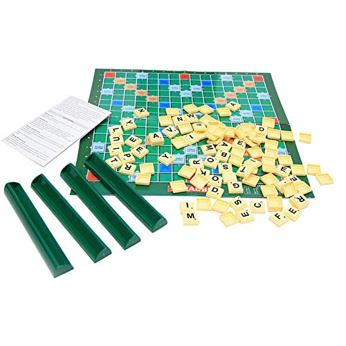 CMTKJ Scrabble - Tabla de juegos para niños, diseño de cartas a juego con juguetes educativos clásicos para familia, adultos y niños (1 juego)