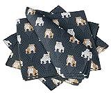 S4Sassy Azul Toro Perro servilleta de algodón Impresa Todos los días Ropa de Mesa Lavable básica 22 x 22(Paquete de 6)