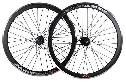 Woo Hoo Bikes Deep V 43 mm Fixie, Fixed Gear, Schiene, Singlespeed Räder mit Flip Flop Naben (schwarz)