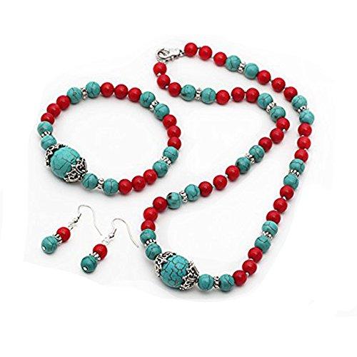Elegant TreasureBay turquesa y rojo Coral de cuentas collar, pulsera y Juego de pendientes de, presentada en estuche detalle caja de regalo