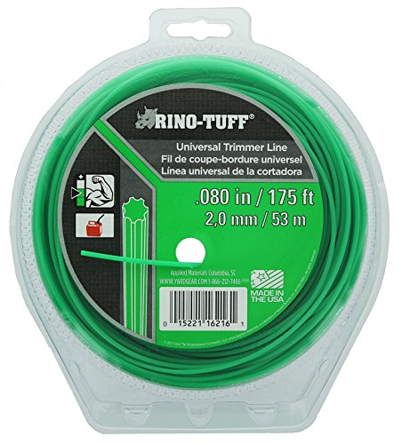 """Rino Tuff 16216A .08"""" x 175' Universal Spiral Twisted 7 Pointed Light Duty Trimmer Line"""