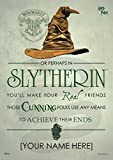 MightyPrint Harry Potter Sorting Hat - Slytherin House - Personalized with Your Name Wall Art Decor - Next Generation Premium Print - Featuring Hogwarts House Quote Poem