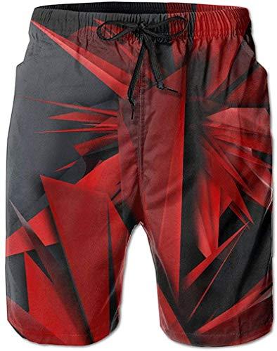 Tablero de Verano para Hombre, Papel Tapiz Rojo Corto, Cintura elástica Estampada con Bolsillos, Traje de baño, Pantalones Cortos Casuales, Pantalones Cortos de Playa para niños