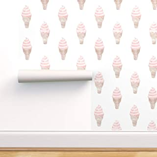 Spoonflower Pre-Pasted Removable Wallpaper, Ice Cream Summer Dessert Food Icecream Soft Serve Cone Print, Water-Activated ...