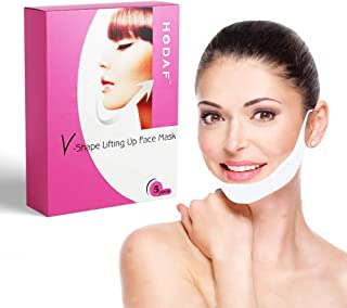 V-Shape Face Mask-Anti-Age Facial Masks for Women-Lifting Straps-Double Chin Reducer - Fat Reducer - V-Line Anti Wrinkle Firming Moisturizing Tape Face Masks - Chin Strap - Face Mask Set of 5