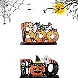 YANGJI 2pcs Decorazione in Legno per Halloween,Centrotavola in Legno per...