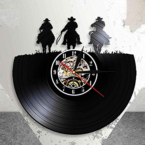 TeenieArt Vaquero Occidental, Red Dead Redemption Vinyl Record Wall Clock Unique Handmade Vintage Bedroom Wall Decoration Creative Gifts For Parents, Friends, Lovers and Children with led