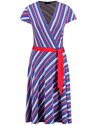 Taifun Damen 381054-16317 Kleid, Mehrfarbig (True Blue Gemustert 8022), 40
