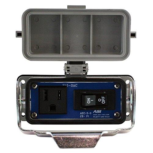 ASI RAI-SAC-109-B Through Panel Circuit Breaker and Single AC Outlet, 15 amp Breaker, 15 amp AC Outlet, NEMA 4, 4X, IP65 Rating