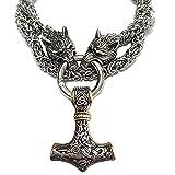Collar de martillo de Thor, 3D Viking Wolf Head Retro Hombre Collar 316L Colgante de acero inoxidable, Mitología nórdica Joyas de cadena de amuleto para hombre silver 2-80cm/31.5inch