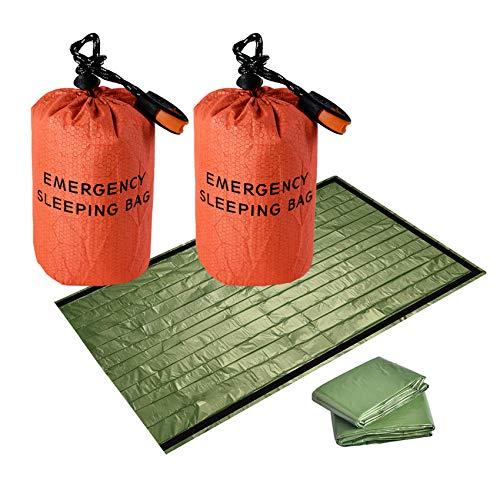 theFIU. Emergency Survival Sleeping Bag, Bivvy Bag,Survival Gear Kit Thermal Blanket PE Aluminum Film for Outdoor Adventure,Camping,Hiking,and First Aids,Lightweight Waterproof Thermal Bag (Orange)