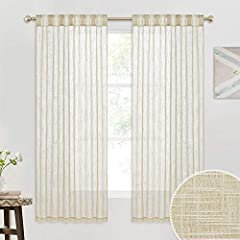 "WELL MADE - Package includes 2 panels. Total width is 104"". Made of high-density fabric with line weave textile. Each panel is rod pocket & back tab loops top design, which can be hung in different styles with rods/hooks/rings. SEMI SHEER - Linen tex..."