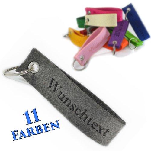 polar-effekt Schlüsselband Anhänger mit Gravur aus Filz - Schlüsselanhänger Personalisierte Geschenkidee zum Geburtstag - Individuelle Geschenk Schmuck - Farbe grau