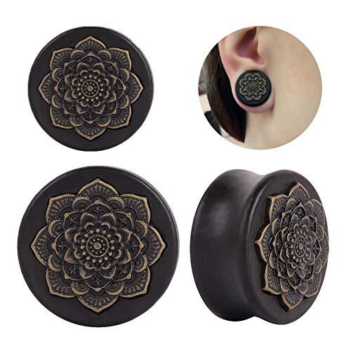 Accesorios de joyería Oído 4PCS Negro de madera natural Mandala Flor enchufes Túneles oído de la joyería pendiente de medidores Expansores Piercing Plug Orejas Cuerpo Pendiente expansor de oreja