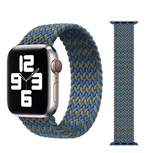 CHECHE Correa trenzada para Apple Watch de 44 mm, 40 mm, 38 mm, 42 mm, de nailon, elástica, correa para Iwatch Series 3, 4, 5 Se 6, correa verde entre azul, 42 o 44 mm, XL