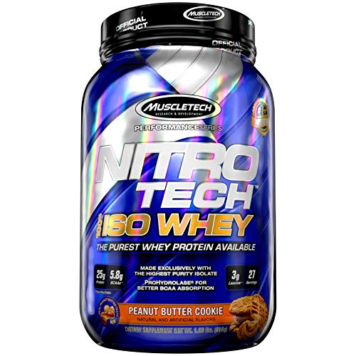 Whey Protein Isolate | MuscleTech Nitro-Tech Elite 100% Whey Isolate Protein Powder | Whey Protein Powder for Women & Men | Muscle Builder | Peanut Butter Protein Powder, 1.8 lbs (27 Servings