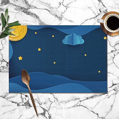 Singledog Set de 6 Sets de Table, Paper Art Moon Fluffy Clouds Stars Sets de Table lavables 30X45CM