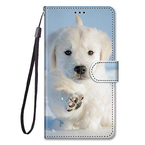 KimsCase Funda para Samsung Galaxy A52 5G Libro Piel Cuero Silicona con Tapa y Cartera Magnetica Dibujos Resistente Carcasa Case Antigolpes TPU Bumper Kawaii Flip Cover - Perro