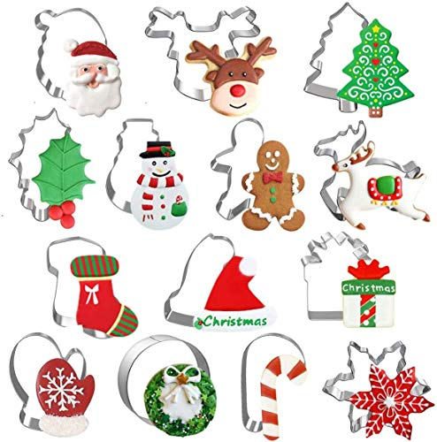Weihnachten Ausstechformen 14 Stück, Plätzchenausstecher Edelstahl Set Fondant Brot Tortendeko Cookie Cutter Keksausstecher für Weihnachten