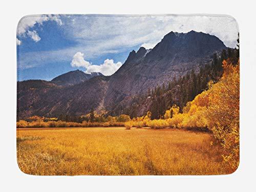ABAKUHAUS Estados Unidos Tapete para Baño, Sierra Nevada otoño, Decorativo de Felpa Estampada con Dorso Antideslizante, 45 cm x 75 cm, Naranja Oscuro Marrón Azul