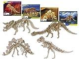 Bada Bing Juego de 4 puzzles de madera natural 3D para niños, diseño de dinosaurio,...