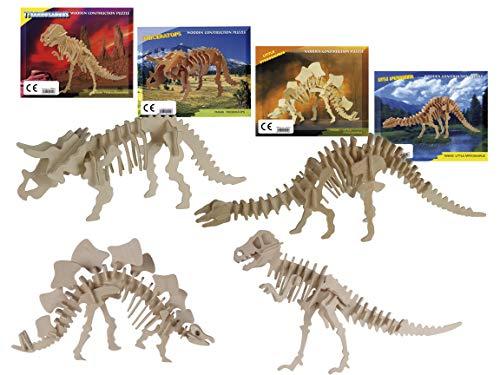 Bada Bing Set di 4 puzzle in legno naturale per bambini, 3D, con scheletro di dinosauro, per bricolage e costruzione, 45